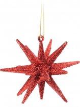 3D ster rood met glitters 7 cm - Kerstboomversiering