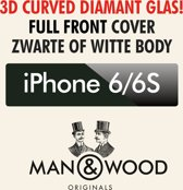 Man & Wood 3D CURVED Screenprotector / Schermbescherming ECHT GEHARD GLAS (Tempered Glass) - iPhone 6/6S - WIT