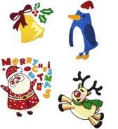 Strijk embleem 'Merry christmas set (4)' – stof & strijk applicatie