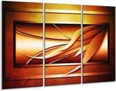 Canvas schilderij Abstract | Geel, Bruin, Oranje | 120x80cm 3Luik