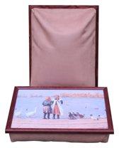 Margot Steel Laptray, Schoottafel, Schootkussen, Laptoptafel, Dienblad met kussen Eendjes voeren - 41x31x10 cm