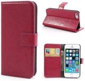 Cyclone cover wallet case hoesje iPhone 5 5S SE roze