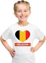 Belgie kinder t-shirt met Belgische vlag in hart wit jongens en meisjes XS (110-116)