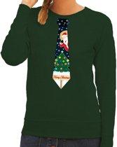 Foute kersttrui / sweater met stropdas van kerst print groen voor dames S (36)