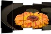 Canvas schilderij Bloem | Zwart, Oranje, Geel | 150x80cm 5Luik