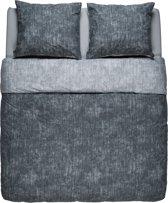 Flin Bedding - Dekbedovertrek - Polykatoen - Lits-jumeaux - 240x200/220 - Donker grijs/Licht grijs