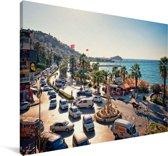 De kust van Pigeon Island in het Turkse Izmir Canvas 140x90 cm - Foto print op Canvas schilderij (Wanddecoratie woonkamer / slaapkamer)