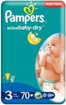 Pampers Activi-Baby-Dry - Maat 3 (Midi) 4-9 kg - Maxi pack - 70 stuks - Luiers