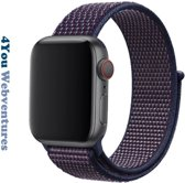Indigo / Paars / Blauw Nylon Horloge Band voor Apple Watch 1, 2, 3 en 4, 42mm & 44mm Series - Zacht Geweven Nylon - 42 mm en 44 mm