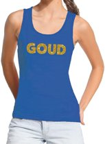 Goud gouden tekst tanktop / mouwloos shirt blauw dames - dames singlet Goud S