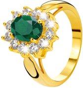 Eve Gold Plated Ring - Met Smaragd & Zirkonia - Maat 50