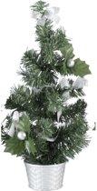 Mini kerstboompje met zilveren  versiering 20 cm - mini kunst kerstboom