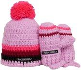 Poederbaasje Baby Muts & Handschoenen - Roze, Zwart - 6-36 mnd