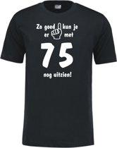 Mijncadeautje - Leeftijd T-shirt - Zo goed kun je er uitzien 75 jaar - Unisex - Zwart (maat XXL)