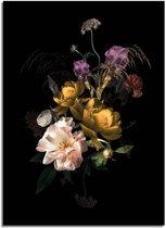 DesignClaud Vintage boeket bloemen poster - Bloemstillevens - Zwart Geel Paars A4 + Fotolijst wit