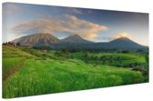 Rijstvelden en vulkanen Bali Canvas 120x80 cm - Foto print op Canvas schilderij (Wanddecoratie woonkamer / slaapkamer)