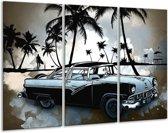 Schilderij   Canvas Schilderij Oldtimer, Auto   Zwart, Wit, Blauw   120x80cm 3Luik   Foto print op Canvas