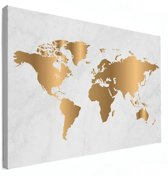 Wereldkaart Goud Marmer Canvas Wanddecoratie 60x40 cm   Wereldkaart Canvas Schilderij