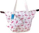 Luna Cove FLAMINGO Strandtas Shopper met Etui Katoen Flamingo's