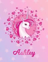 Ashley: Unicorn Sheet Music Note Manuscript Notebook Paper - Magical Horse Personalized Letter S Initial Custom First Name Cov