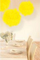 Decoratie pompom neon geel