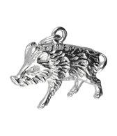 Zilveren Zwijn groot ketting hanger