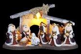 Lichtgevende kerststalletje inclusief 5 kerststal figuurtjes van keramiek - 26 x 12 x 16 cm