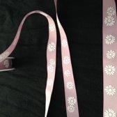 Grosgrain lila met witte bloem, 15 mm x 15 meter