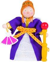 Goki Houten buigpopje koningin 12cm