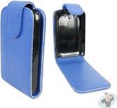 Leren Flip Case Hoesje voor HTC Wildfire S Business Class Blauw