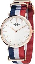 Chronostar PREPPY horloge, rosékleurige met blauw-wit-rode band