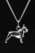 Zilveren Bulldog franse ketting hond hanger - groot