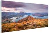 Bergen en meren Glas 180x120 cm - Foto print op Glas (Plexiglas wanddecoratie) XXL / Groot formaat!