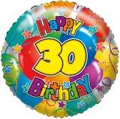 Folie ballon 30 Happy Birthday 45 cm - Helium ballon verjaardag 30 jaar 45 cm