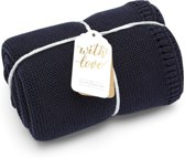 Little Green sheep Organic Knit Baby Blanket Midnight