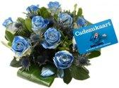 Bol.com bloemen glitter blauwe rozen met cadeaukaart € 20,00