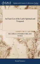 An Exact List of the Lords Spiritual and Temporal