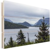 Meer in het Nationaal park Gros Morne in Canada Vurenhout met planken 30x20 cm - klein - Foto print op Hout (Wanddecoratie)