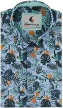 Gcm Originals regular fit overhemd korte mouw tropische print blauw, maat XXL