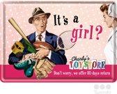 Nostalgic Art Metalen Postkaart It's a girl? 10x14 cm