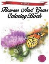 Flowers and Gems Coloring Book
