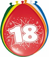 Ballonnen 18 Jaar 30cm 8 stuks