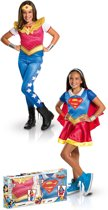 Supergirl™ en Wonder Woman™ kostuum set voor meisjes - Verkleedkleding