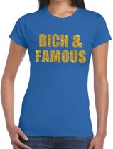 Rich and Famous gouden glitter tekst t-shirt blauw dames - dames shirt Rich and Famous M