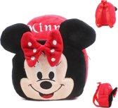 Kinderrugzak van zacht pluche - lekker zacht en praktisch cadeau | Schattige schooltas | ook leuk als luieretui |Lunch box|Mini Rugzak | Rugtas kleuter peuter pluche |Red Minnie Mouse