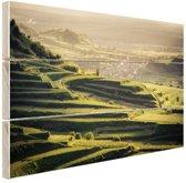 Wijngaard zonsondergang uitzicht Hout 120x80 cm - Foto print op Hout (Wanddecoratie)