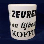 Witte koffiemok met tekst - Niet zeuren voor na en tijdens de koffie