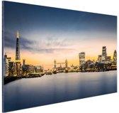 Skyline Londen zonsondergang Aluminium 30x20 cm - Foto print op Aluminium (metaal wanddecoratie)