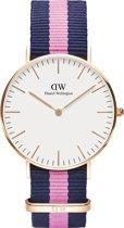 Daniel Wellington Classic Winchester DW00100033 - Horloge - NATO - Blauw/Roze - Ø 36mm