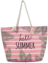 3377437967f Strandtas roze/wit Hello Summer 54 cm - Strandtassen/schoudertassen roze  met wit -